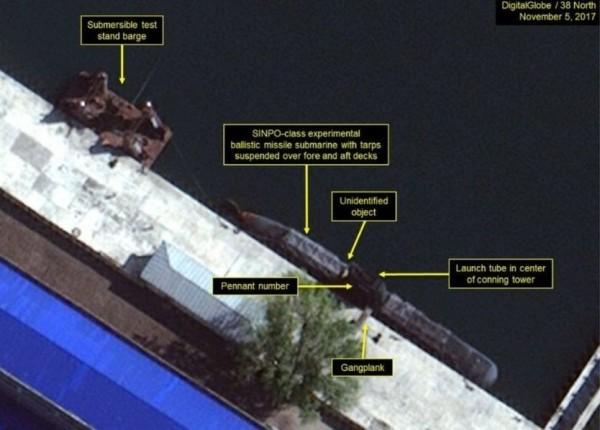 根據《North 38》最新的衛星影像,顯示北韓目前正積極發展「潛水艇彈道導彈計劃」。(圖取自BBC中文網)