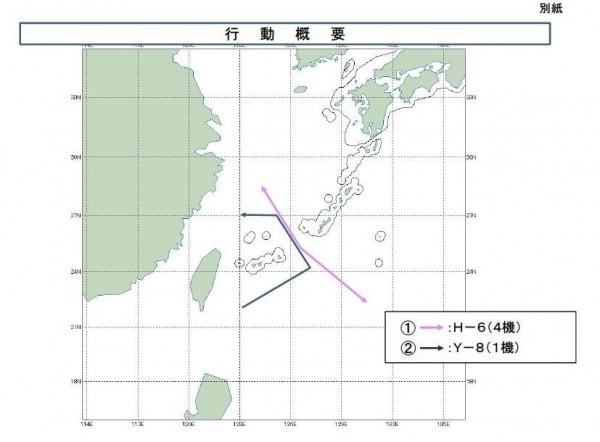 中國1架「運八」電戰機不僅逆時針繞台飛行,更自北緯27度向西巡航,疑侵入我防空識別區。(取自日本防衛省網站)