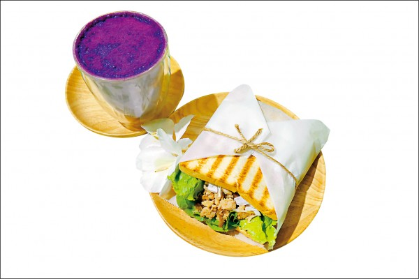 bigreeny 料理・家烙烤吐司:野薑花肉燥(右)、紫薯鮮奶/套餐價114元,單點價70元、55元。(記者萬玟伶/攝影)