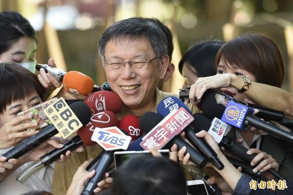 李明哲昨被中國以「顛覆國家政權罪」判處有期徒刑5年,台北市長柯文哲上午直言給人家安一個罪名,好歹事實、內容要講清楚。(記者叢昌瑾攝)