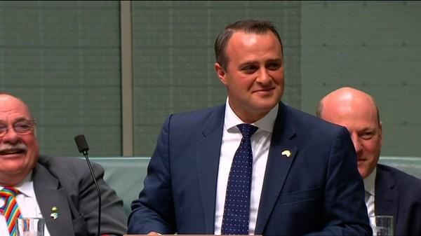 澳州同性戀眾議員威爾遜(Tim Wilson,中),在眾議院舉行同婚辯論時,對坐在旁聽席的伴侶求婚。(法新社)