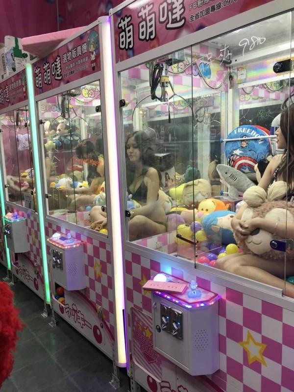 台南市永康區一間夾娃娃店5日開幕,請4名比基尼辣妹直接坐在夾娃娃機台內和客人互動。(圖擷取自台南萌萌噠選物販賣機臉書)