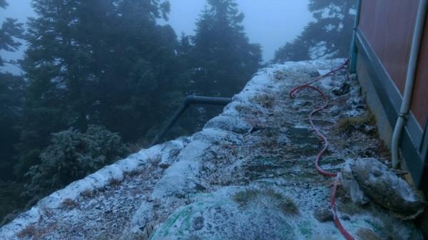 玉山清晨再降雪,排雲山莊積雪約1公分。(玉管處提供)