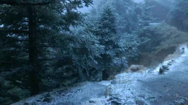 玉山清晨再降雪。(玉管處提供)