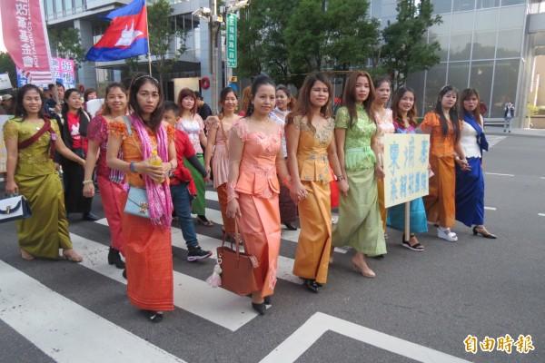 新住民也組隊為人權平等發聲。(記者蘇孟娟攝)
