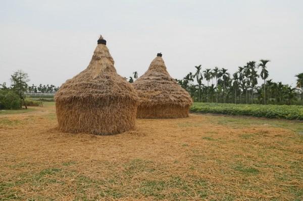 美濃區公所以稻穀採收後的稻稈為素材,打造四幅立體實境稻畫。(記者黃佳琳翻攝)