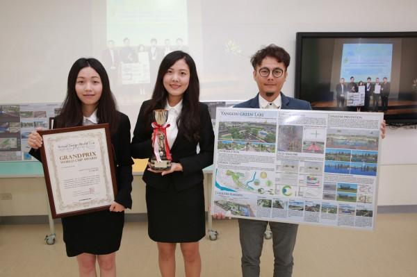 冠軍隊伍廖珮珊、陳芊云、黃瑞國作品「Yangon Green Lab」。(記者蔡清華翻攝)