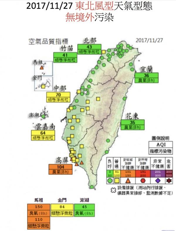 台灣受東北風天氣型態影響,東北風從日本海道與韓國吹到台灣,空氣是乾淨的,空品大多維持綠燈良好至黃燈普通等級。(莊秉潔提供)