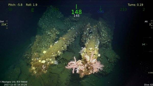 艾倫沈船搜尋團隊今又公布一起重大發現,發現了沉眠於海底的「島風號」;圖為127公厘聯裝炮。(圖擷自臉書「RV Petrel」)