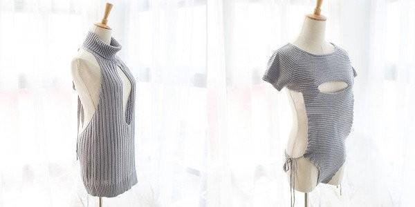 新款包含2種版本,一種是「深V式」的設計(左),另一種則是半開胸、下半身是比基尼的設計(右)。(圖擷取自Village Vanguard)