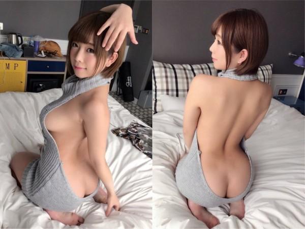 AV女優紗倉真菜示範穿著「童貞殺」毛衣。(圖擷取自Instagram)