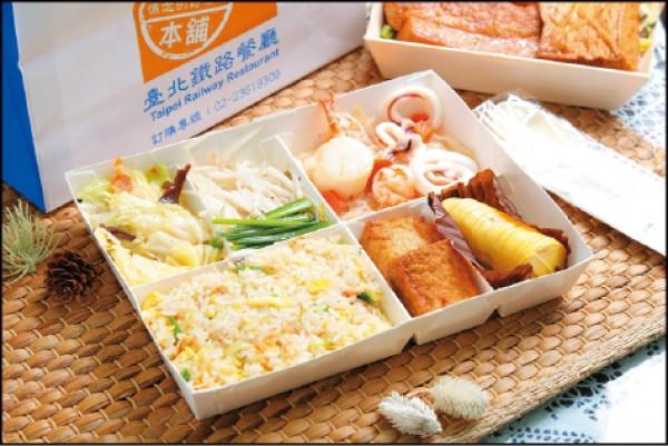 干貝鐵板燒便當/188元。台鐵推出結合3種海鮮主菜的鐵板燒便當,把台灣人常吃的鐵板燒「變」成便當新口味,讓人耳目一新。(記者陳宇睿/攝影)