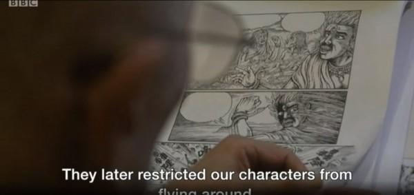 許貿淞說發行漫畫受到嚴格的審查,「反正政府看不順眼的都要改」。(圖取自《BBC》影片截圖)