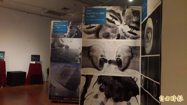 韓國東西大學多媒體設計系學生作品在虎科大展出。(記者廖淑玲攝)