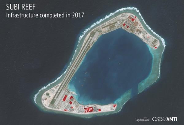 美國國務卿提勒森(Rex Tillerson)就曾在今年1月時表示,中國在南海填土造地和軍事化的行為,就像是俄羅斯占據克里米亞一樣的流氓行為。(圖擷取自AMTI)