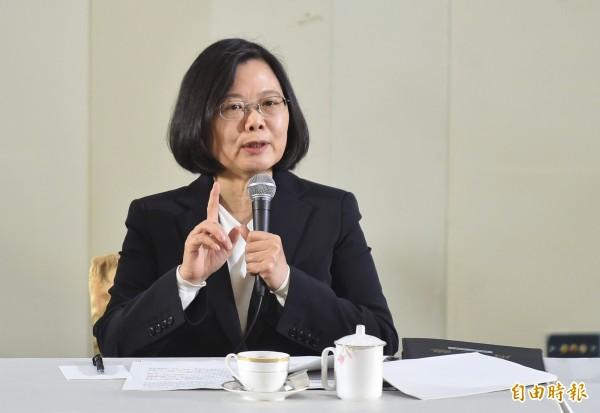 總統蔡英文29日在中科院研發展示館舉行年終記者會。(記者劉信德攝)