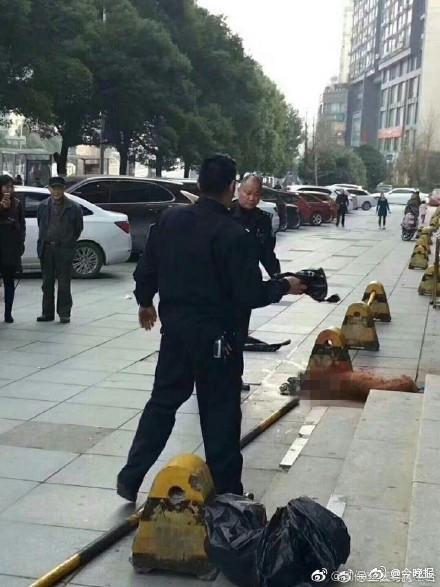 中國有網友昨天爆料,指出長沙市有員警活活用棍棒將狗給打死。(圖擷取自微博)