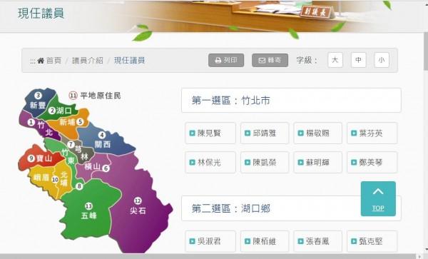 雖然新竹縣議員選舉竹北市為一個選舉區,已有市民熱烈討論議員分布似乎東區、西區分布不平衡,為年底的地方選舉引發話題。(擷取自新竹縣議會官網)