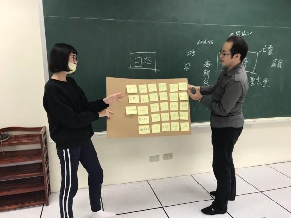 中原大學企管研究所學生帶領大園高中學生嘗試用第二外語進行「行銷實作」。(中原大學提供)