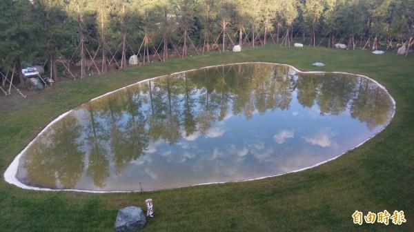 新竹縣關西鎮的落羽松林秘境,因為環繞包覆著1顆心型的「靜湖」,搭配藍天和白雲,一起倒影在湖面,引起朝聖者湧入。(記者黃美珠攝)
