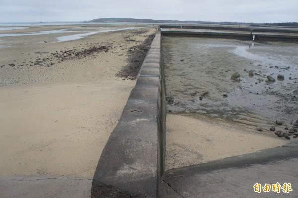 白沙岐頭的波浪堤,退潮時呈現波浪狀美景。(記者劉禹慶攝)