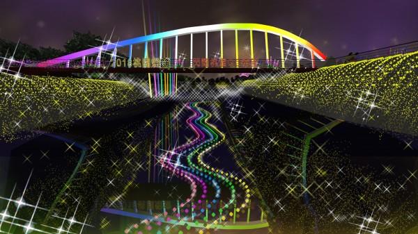 桃園燈區的「母愛之花」主題燈模擬圖,以鍾肇政的著名作品「魯冰花」為發想,屆時還會在橋上循環撥放音樂,燈光隨音樂節奏律動。(桃園市政府提供)