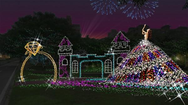 桃園燈區的「幸福廣場」主題燈模擬圖,以身處花海及巴洛克城堡的代價新娘為元素。(桃園市政府提供)