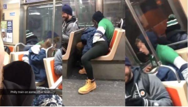 年輕男女當眾在電車上演活春宮,被周遭民眾錄影下來。(圖分別擷取自KungFuNelly、kevinaltmann、Long_Lanky推特)