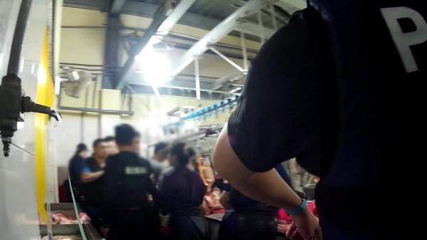 警方昨深夜突襲位於泰山區的屠宰場,正在工作的非法移工猝不及防。(記者曾健銘翻攝)