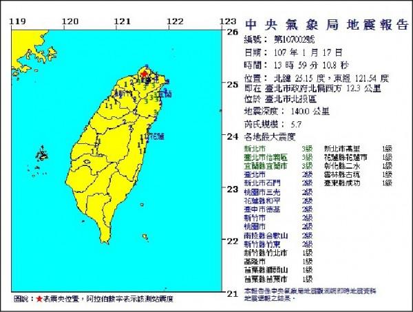 台北市北投區昨下午接近兩點時,發生規模五.七的有感地震。(取自中央氣象局官網)