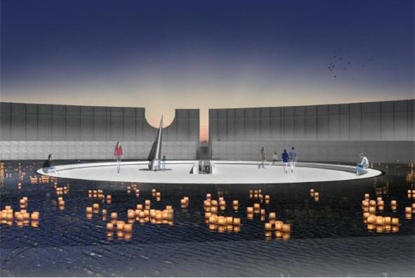 桃園市政府工務局公布獲得「乙未戰爭紀念意象營造」競圖第一名的「暮光Twilight」作品。(工務局提供)
