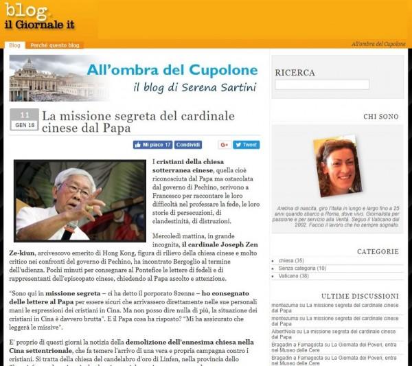 義大利《新聞報》記者薩丁妮在她專門報導教廷消息的部落格內透露,86歲的陳日君上週三突然現身教廷,在寒風中排隊參加教宗每週三梵蒂岡聖伯多祿廣場的公開接見。(圖擷取自「blog.ilgiornale.it」)
