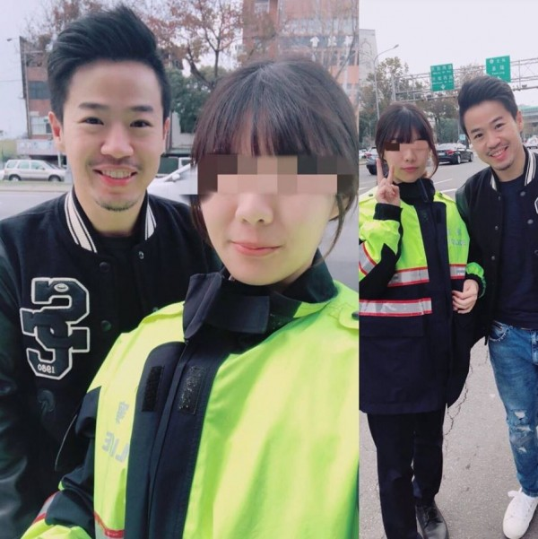 一休昨(24)日發生車禍,網友卻意外將焦點放在與女警的合照上,跪求「高清版」。(圖擷取自「一休陪你一起愛健身」臉書)