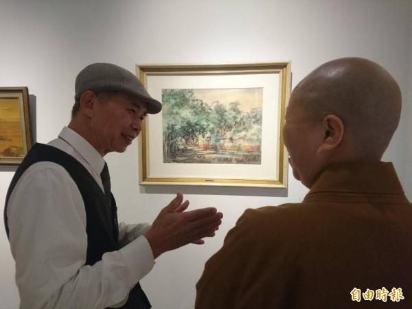 世界10大水彩畫家藍蔭鼎的代表畫作「滴翠」,被文化局典藏34年後,再度重見天日。(記者林敬倫攝)