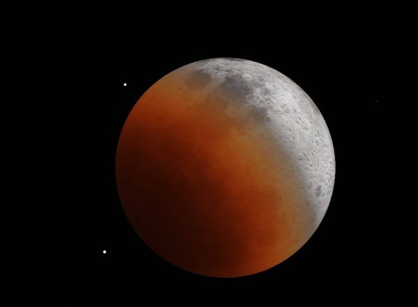 南瀛天文館模擬的月食過程。(南瀛天文館提供)
