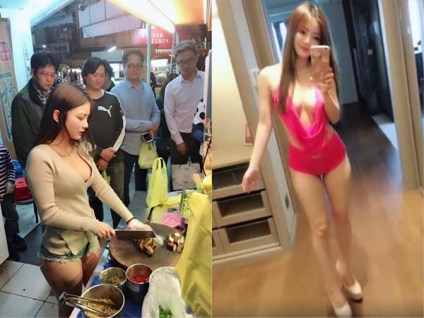 台中市北屯區一間滷味攤,日前請來網路正妹「小桃子」當一日店長,身穿火辣的小桃子讓滷味攤生意更加火熱。(圖擷取自臉書)