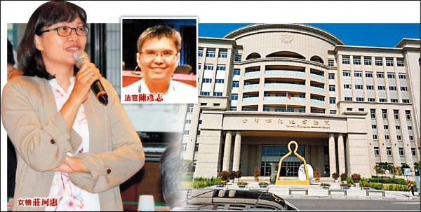 彰化地檢署檢察官莊珂惠為一起妨害性自主案件在法庭上嗆法官陳彥志腦袋不清楚,差點被法官當庭逮捕。(記者顏宏駿攝、翻攝)