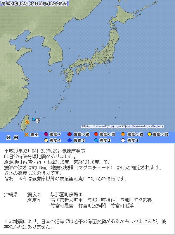 日本氣象廳地震速報則指出地震規模為6.5,就連日本沖繩縣最大震度也有2級。(圖擷取自日本氣象廳)