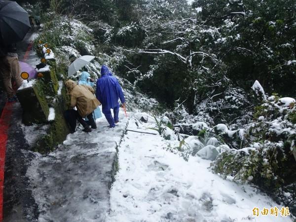 陽明山出現降雪,民眾興奮在路邊玩雪。(記者張嘉明攝)