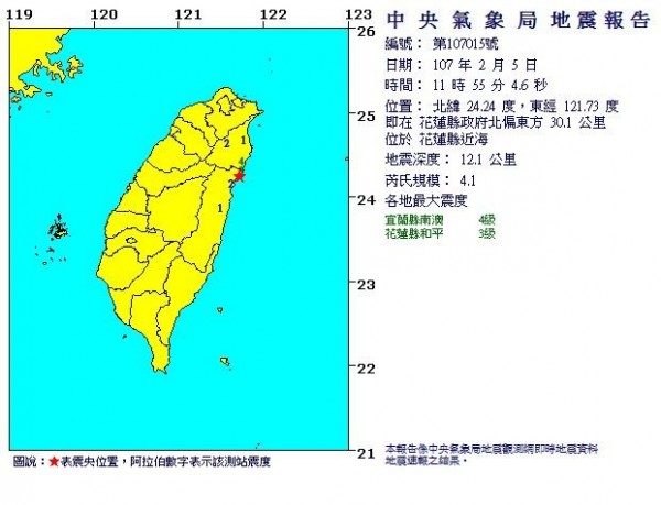 今(5日)上午至中午花蓮近海又發生多起淺層地震,最大芮氏規模為4.1。(圖擷自中央氣象局)