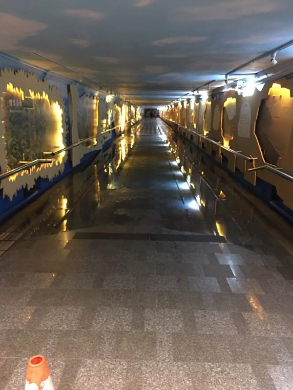 花蓮站前站通往後站地下道水管破裂淹水。(台鐵局提供)