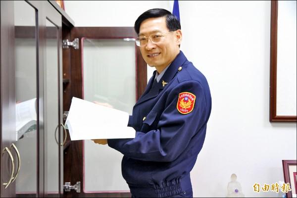 曾赴美取得測謊證照的林故廷,改穿制服出任汐止分局長,受基層敬重。(記者吳昇儒攝)