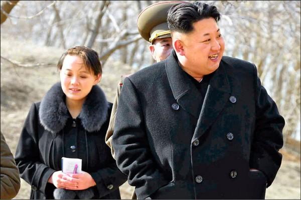 北韓最高領導人金正恩(右)的胞妹金與正(左),將在冬奧九日開幕式當日到訪三天。(美聯社檔案照)