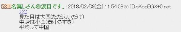 日本網友說,有廣袤領土看起來像是大國,內在器量卻是個「小國」,平均起來就是「中國」。(圖擷自「2ch」)