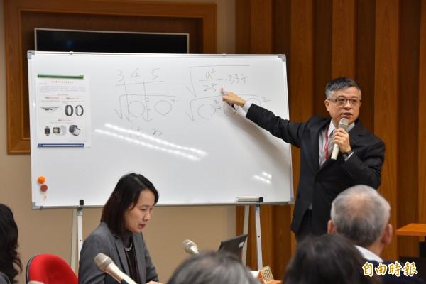 大考中心主任劉孟奇(右)解釋今年學測數學科H題撞題的原因。(記者吳柏軒攝)