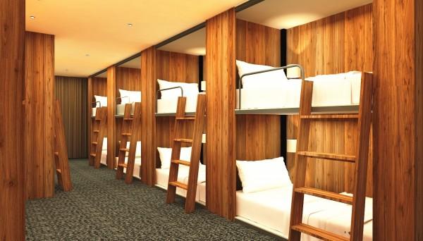 桃園市首座公辦民營文化交流青年旅館,規劃背包客房。(青年事務局提供)
