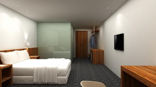 桃園市首座公辦民營文化交流青年旅館,規劃商務套房。(青年事務局提供)