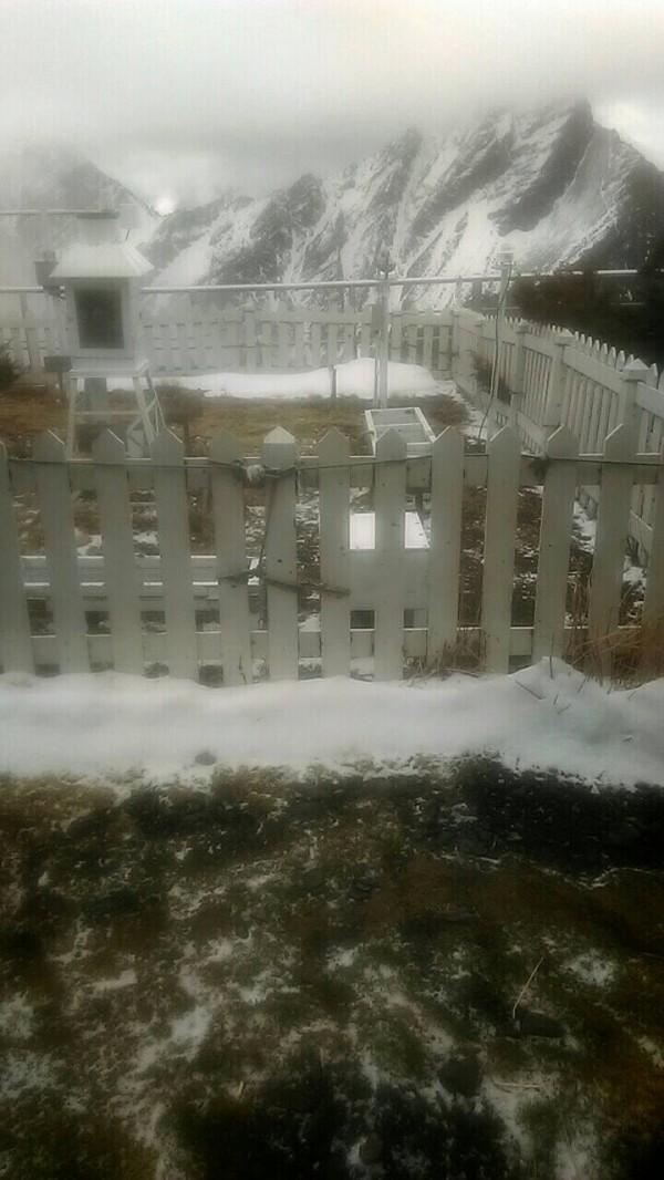 今天清晨至上午,玉山還有降雪,厚達0.7公分。(中央氣象局提供)