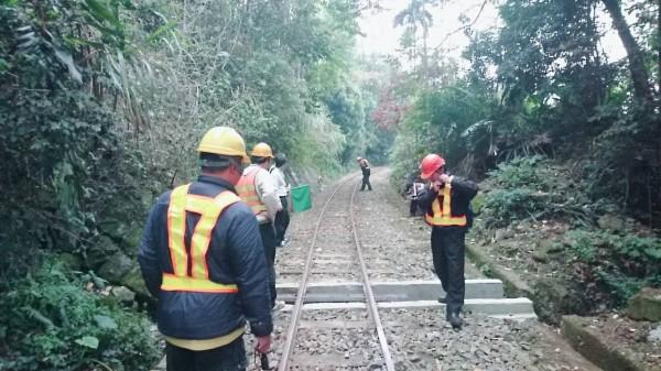 阿里山森林鐵路小火車今天下午發生出軌意外。(讀者提供)