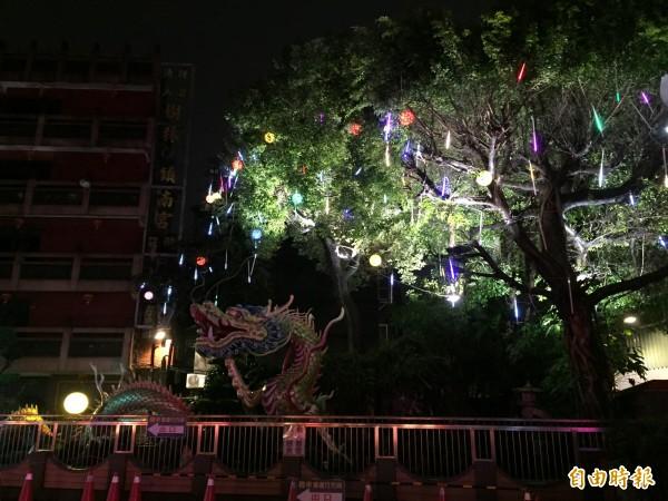 樹林區鎮南宮內的大樹上裝置LED燈飾。(記者邱書昱攝)